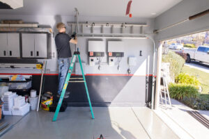 a garage door being installed in Sacramento CA